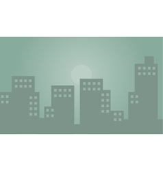 Silhouette of building with fog vector