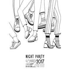 Night party hand drawn contour poster with dancing vector