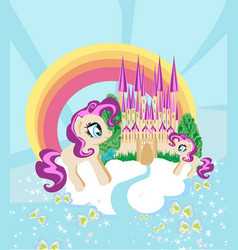 Cute unicorns and fairy-tale princess castle vector