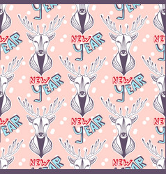 Christmas deer for new year wrapping paper vector