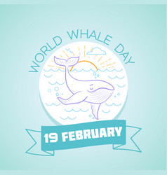 19 february world whale day vector