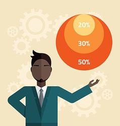 Flat young businessman with presentation gr vector