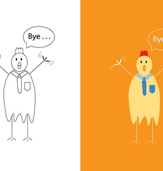 Chicken businessman saying goodbye vector