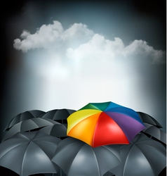 A rainbow umbrella amongst grey ones uniqueness vector