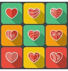 Set of flat heart icons vector