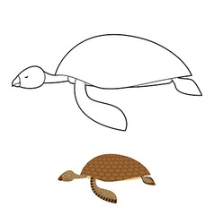 Water turtle coloring book marine animal with vector