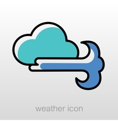 Cloud blows wind icon meteorology weather vector