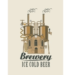 Brewery with home with barrels on the roof vector