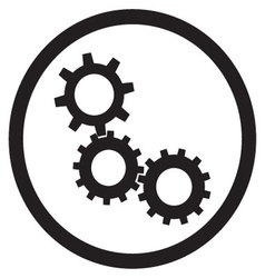 Cogwheel gear mechanism icon black white vector