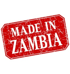 Made in zambia red square grunge stamp vector