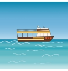 Water transport travel ship across sea river vector