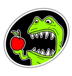 Eating apple icon vector
