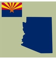 Map of the us state of arizona with flag vector