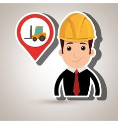 Man and mounted load isolated icon design vector