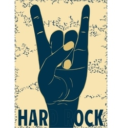 Rock hand gesture on yellow background vector