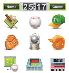 baseball softball icon set vector image vector image