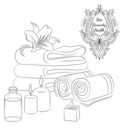 Bath towels line art vector
