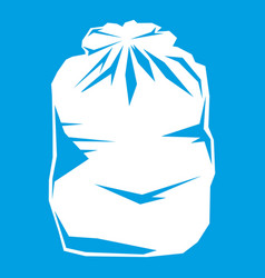Black trash bag icon white vector