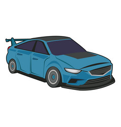 Blue sport car luxury speed vehicle isolated on vector