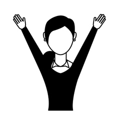 Businesswoman avatar with hands up vector