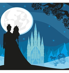 castle and princess with prince vector image vector image