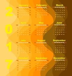 Create wave 2017 calendar template vector