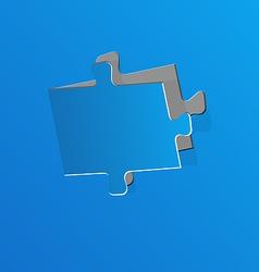 Cut out puzzle piece blue paper vector image