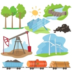 Eco energy design concept set vector