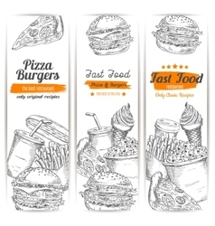 Fast food snacks meal sketch banners set vector