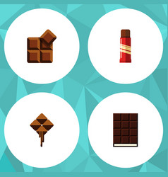 flat icon cacao set of dessert sweet cocoa and vector image vector image