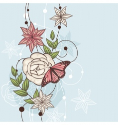 floral illustration with butterfly vector image vector image