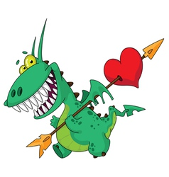 funny dragon with heart vector image vector image