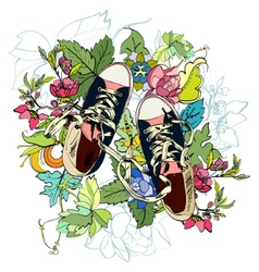 Gumshoes sketch flower vector image