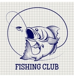 Hand drawn fishing club logo vector