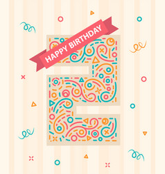 happy birthday number 2 greeting card for two year vector image