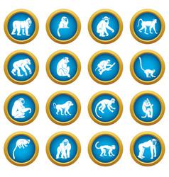 monkey types icons blue circle set vector image
