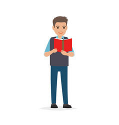 student standing and reading textbook flat vector image vector image