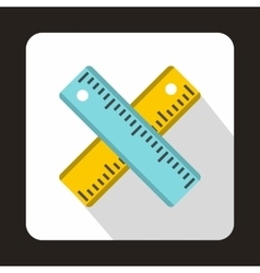 Two crossed rulers icon flat style vector