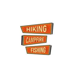 vintage hand drawn camping signs travel badges - vector image vector image
