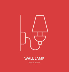 wall lamp flat line icon logo for interior vector image vector image
