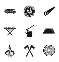 Sawing woods icons set simple style vector
