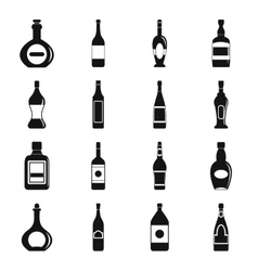 Bottle forms icons set simple style vector