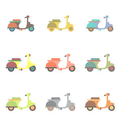 Stylish icon of vespa in flat style retro vector