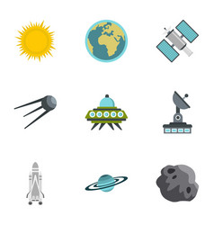 outer space icons set flat style vector image