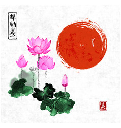 Pink lotus flowers and red sun vector