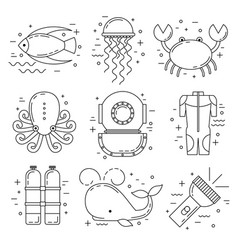 Scuba diving line art icons vector