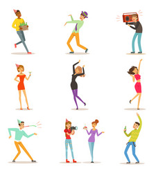 Happy people characters celebrating dancing and vector