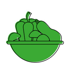 Assorted vegetable bowl icon imag vector