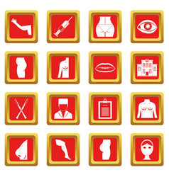 Plastic surgeon icons set red vector