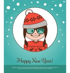 Holiday card happy new year with girl santa claus vector